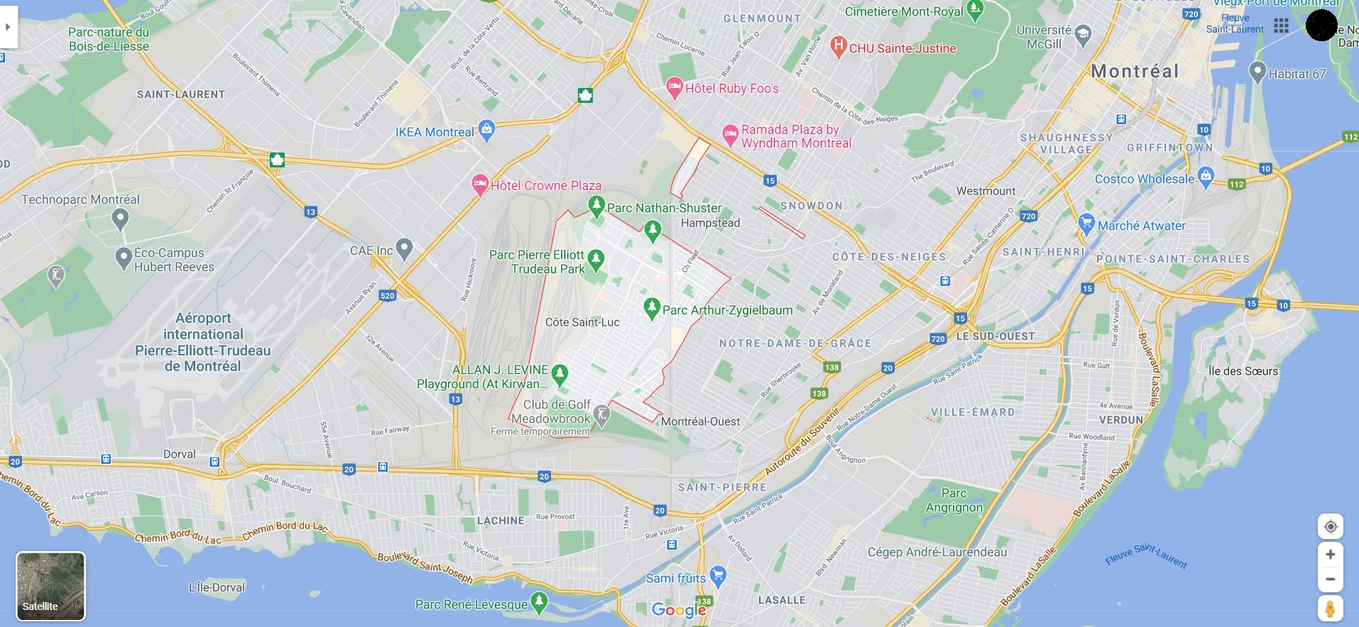 carte cote saint luc montreal
